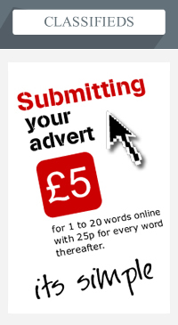 Classifieds &#8211; Submittung your advert &pound;5 for 1 to 20 words online with 25p for every word thereafter &#8211; it's simple